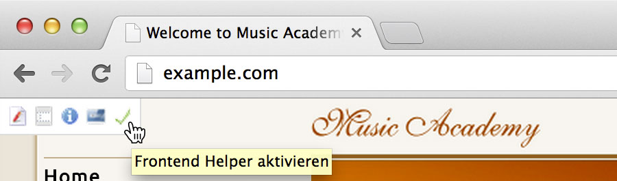 Screenshot: Frontend Helper aktivieren
