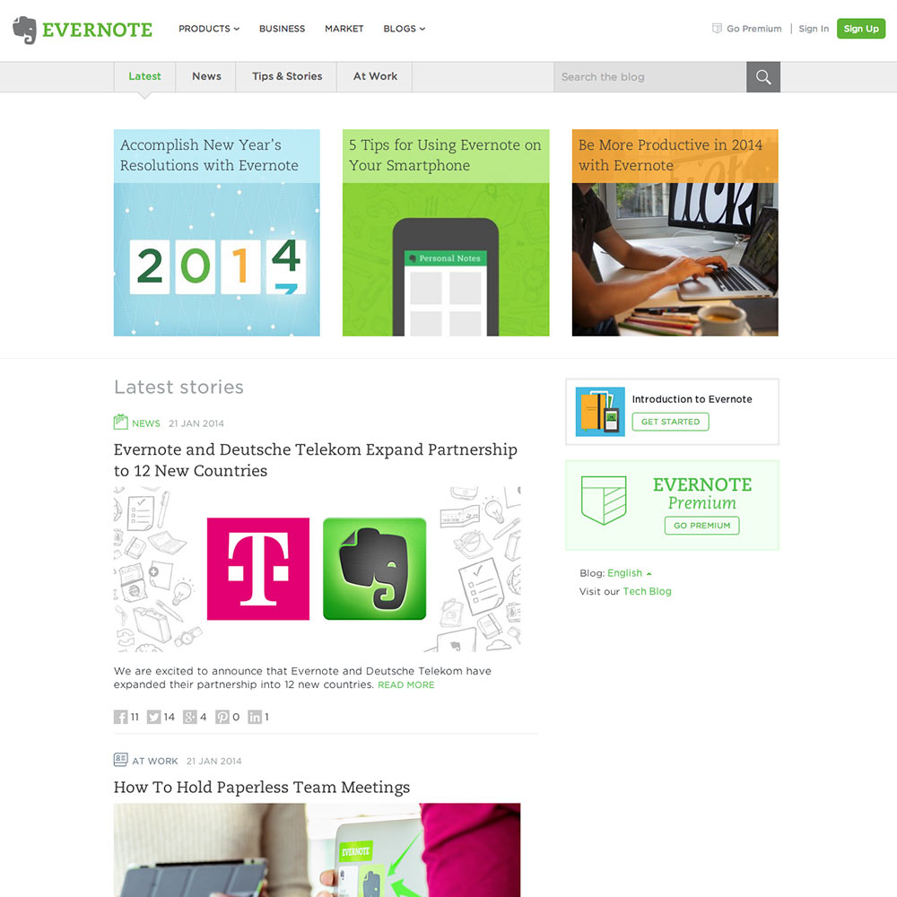 Evernote Blog Screenshot