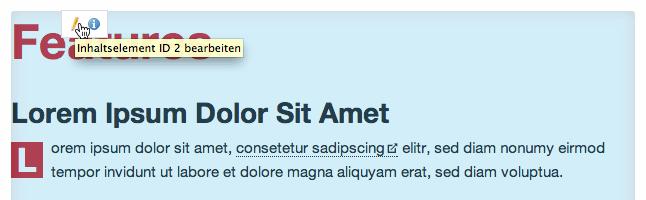 Screenshot: Content Element editieren